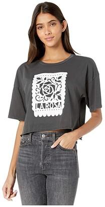 RVCA La Rosa Cropped T-Shirt (Black) Women's Clothing
