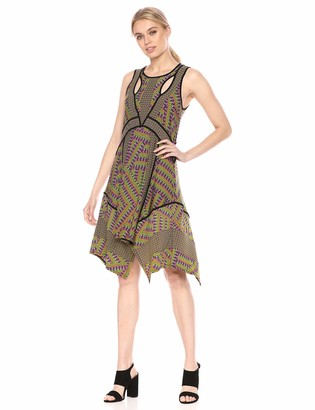 BCBGMAXAZRIA Azria Women's Mixed Print Handkerchief Dress