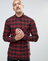 Pull&Bear Checked Shirt In Black And Red In Regular Fit