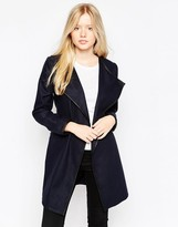 Brave Soul Belted Coat With PU Trim