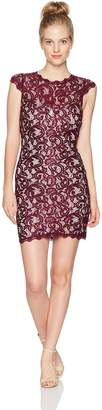 My Michelle Women's Cap Sleeve All Over Lace Dress