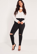 Missguided Plus Size Super Stretch High Waisted Ripped Skinny Jeans Black