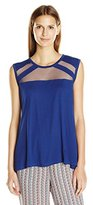 BCBGMAXAZRIA Women's Reesie Sleeveless Top with Tulle Inserts