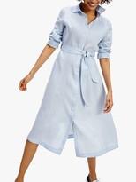 Tommy Hilfiger Penelope Tie Belt Linen Dress, Breezy Blue