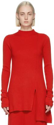 Kenzo Red Wool Asymmetrical Tunic Sweater