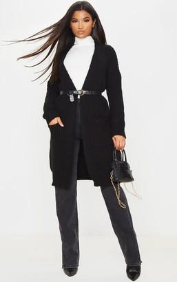 Mega Black Oversized Knitted 3/4 Cardigan