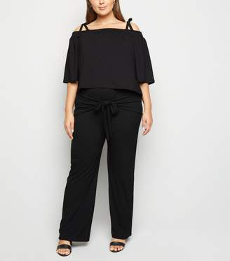 New Look Just Curvy Ribbed Tie Front Trousers