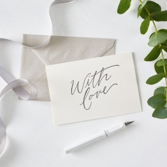 The White Company With Love Script Card, White, One Size