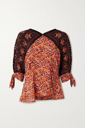 Altuzarra Charity Tie-detailed Floral-print Silk Crepe De Chine Blouse - Brick