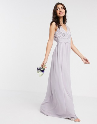 TFNC Bridesmaid lace plunge maxi dress with scalloped back in gray