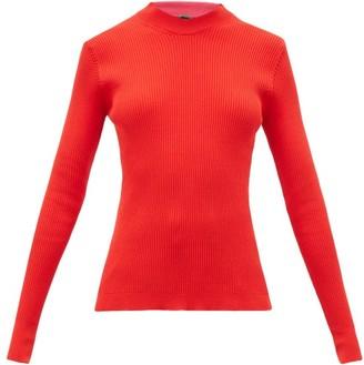 La Fetiche - Albini Mock-neck Rib-knitted Cotton Sweater - Red