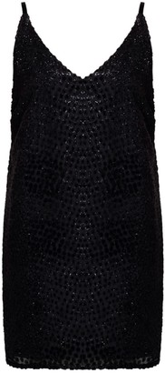 Undress Maren Black Dotty Shimmer Velvet Mini Dress
