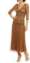 Pisarro Nights 3/4-Sleeve Beaded Dress