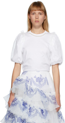 Simone Rocha White Inverted Puff Sleeve Pearl T-Shirt