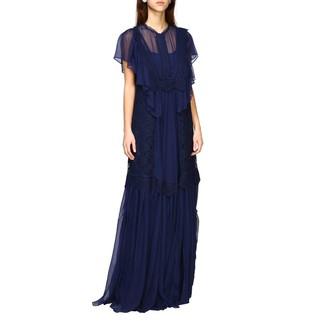 Alberta Ferretti Long Dress In Embroidered Knit