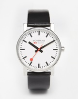 Mondaine Evo Leather Strap Watch - Black