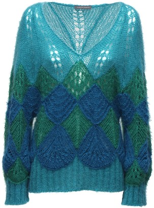 Alberta Ferretti Over Crochet Mohair Blend Sweater
