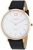 Madison New York MADISON Avenue NEW YORK Unisex Quartz Watch with White Dial Analogue Display and Gold Leather G4741C4