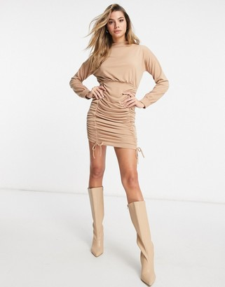 I SAW IT FIRST ruched bodycon high neck sweater dress in camel