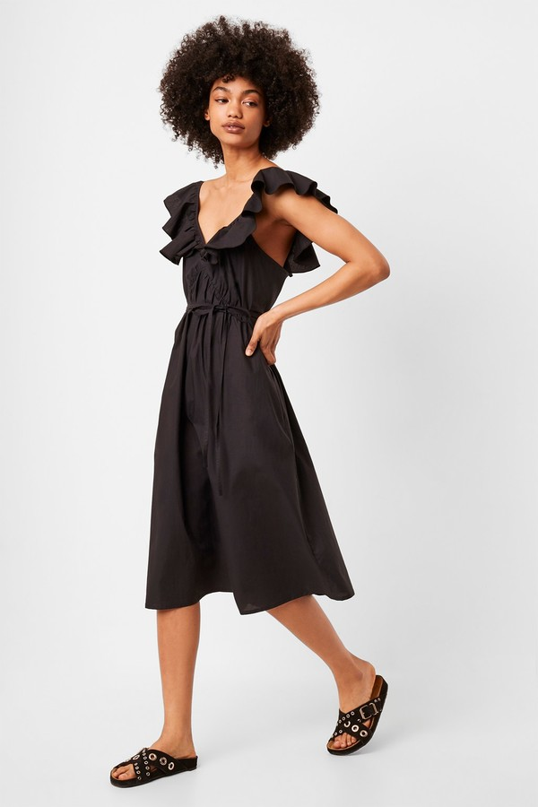 French Connenction Azana Ruffle V-Neck Midi Dress