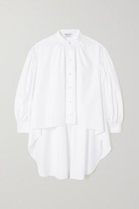 Alexander McQueen - Asymmetric Gathered Cotton-poplin Shirt - White