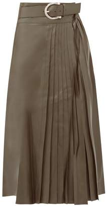 Dodo Bar Or Estelle Pleated Leather Midi Skirt - Womens - Khaki