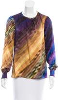 Trina Turk Geometric Print Silk Blouse