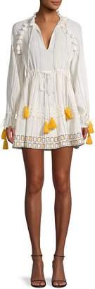 HEMANT AND NANDITA Striped Tie-Waist Cotton Mini Dress