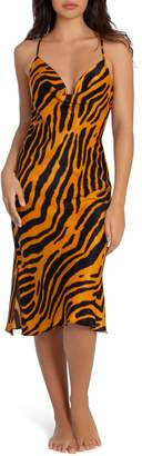 Midnight Bakery Animal Print Cowl Neck Satin Chemise