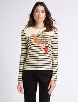 Marks and Spencer Pure Cotton Striped & Embroidered T-Shirt