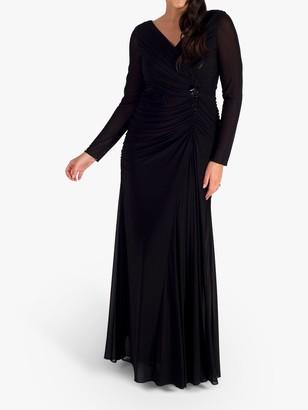 Chesca Mesh Bead Trim Maxi Dress