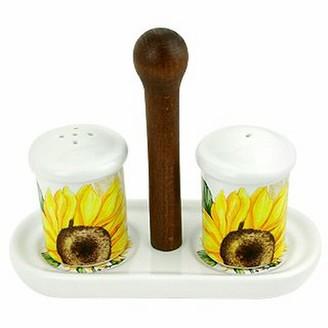 Sunflower Ceramic Salt and Pepper Shaker w/Support