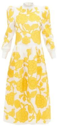 Erdem Josefina Floral-applique Silk-organza Gown - Womens - Yellow White
