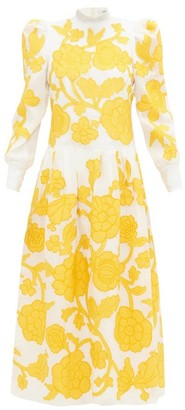 Erdem Josefina Floral-applique Silk-organza Gown - Yellow White