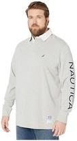 Nautica Big Tall Long Sleeve Logo Rugby (Grey Heather) Men's Long Sleeve Pullover