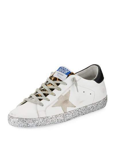 Golden Goose Superstar Leopard Detail Sneakers with Glitter Sole