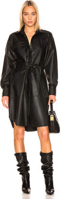 Remain REMAIN Bologna Leather Long Sleeve Shirt Dress in Black | FWRD