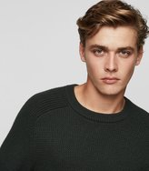 Reiss Reiss Mote - Textured Crew-neck Jumper In Green, Mens