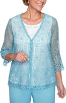 Alfred Dunner Women's Cardigans DOVEBLUE - Dove Blue Floral Crochet Lace Layered Sweater - Women, Petite & Plus