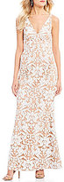 Dress the Population Karen Deep V-Neck Sequin Lace Mermaid Gown
