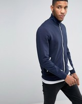 Asos Jersey Track Jacket With Contrast Zips & Sleeve Panels