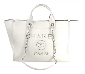 Chanel Deauville White Leather Handbags