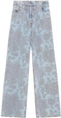 Ganni x Levis floral print high-waist jeans