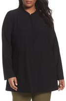 Eileen Fisher Plus Size Women's Mandarin Collar Knit Jacket