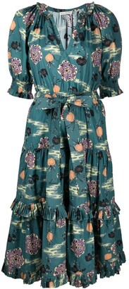 Ulla Johnson Floral-Print Ruffle-Trim Dress