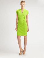Josie Natori Jersey Side-Pleat Dress