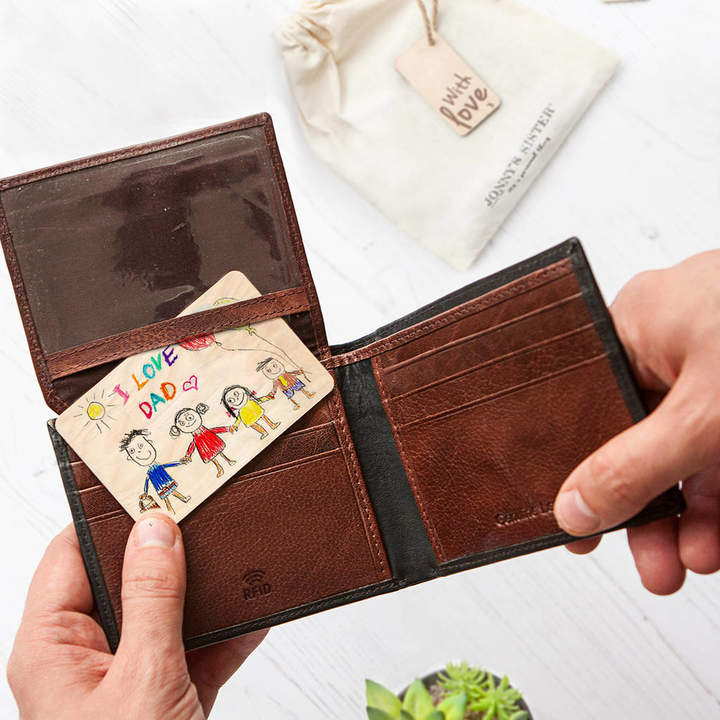 Sister Personalised Leather Wallet And Child's Drawing Card
