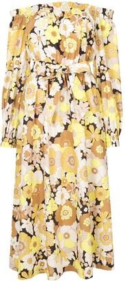 Rebecca Vallance Floral-Print Off-The-Shoulder Midi Dress