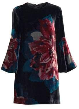 Trina Turk Women's Astral Bell Sleeve Velvet Dress - Size 0