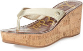 Sam Edelman Romy Metallic Leather Wedge Sandal, Gold